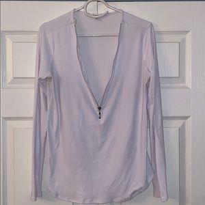 Ardene white zip up shirt